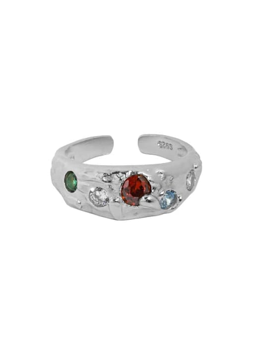White gold [red stone] 925 Sterling Silver Glass Stone Irregular Vintage Band Ring